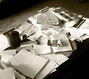 Einstein's desk at Princeton on the day he died, April 18, 1955. Photo: Ralph Morse, Time & Life Pictures, Getty Images.